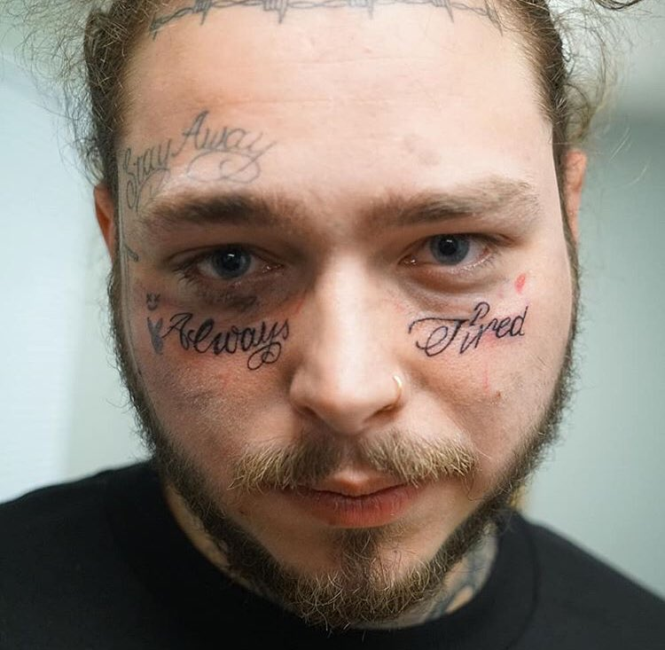 Post Malone I Know: Post Malone Got ANOTHER Face Tat. It's V Bad.